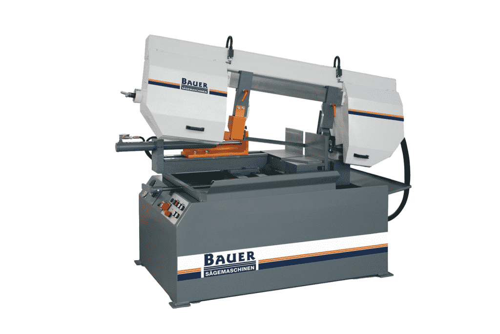 Front view of the Bauer S320 DGSA Semi Automatic Double Mitre Bandsaw