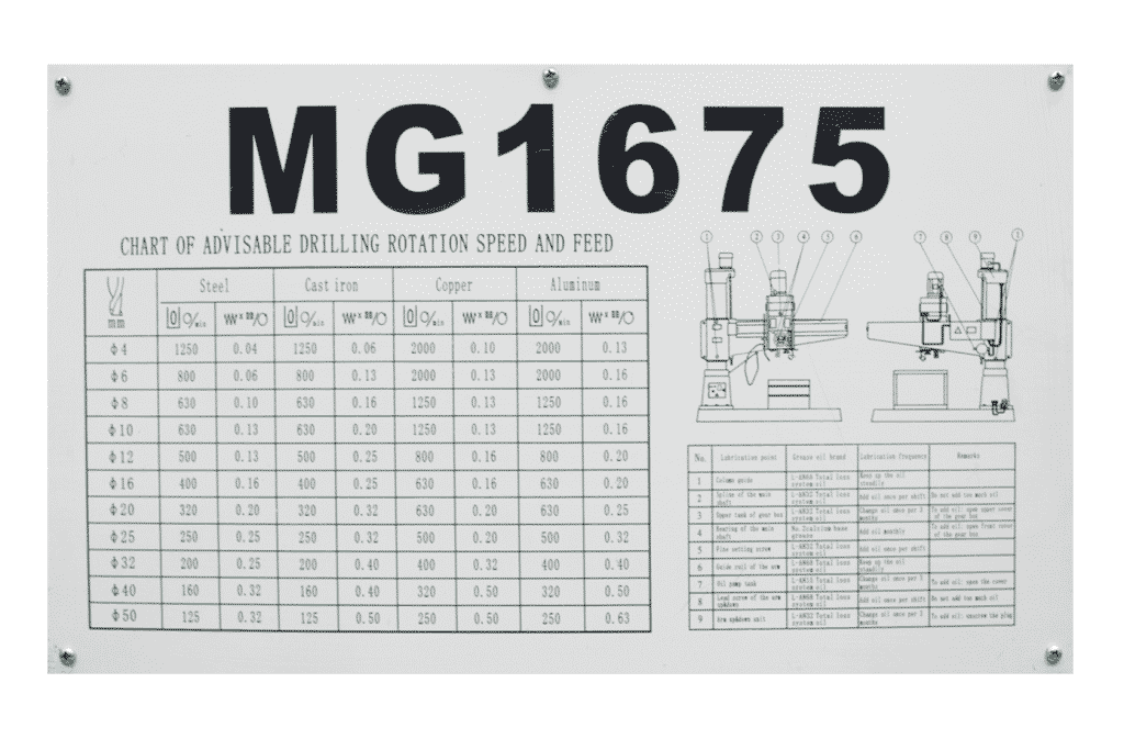 Bema MG 1675 Radial Arm Drill Spindle Feed Chart Detail