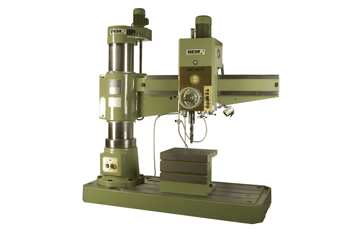 Front view Bema MG1675 Radial Arm Drill with table