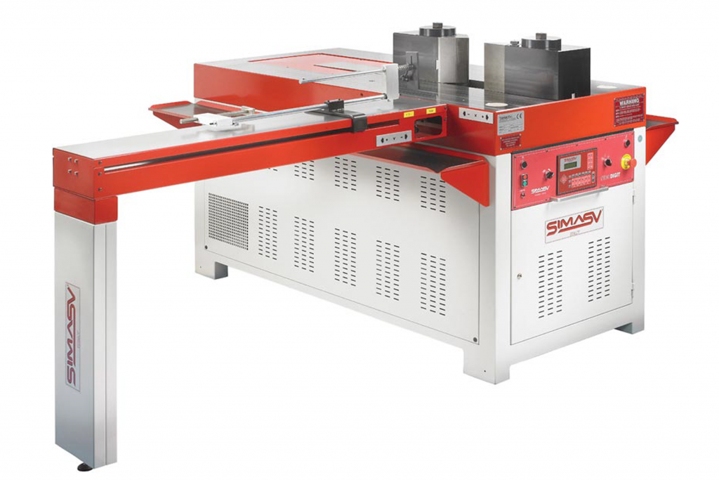 Front view Simasv-Hydraulic-T100-Horizontal-Bending-Press-with-Two-Axis-programmer-pictured-with-Bending-Tools