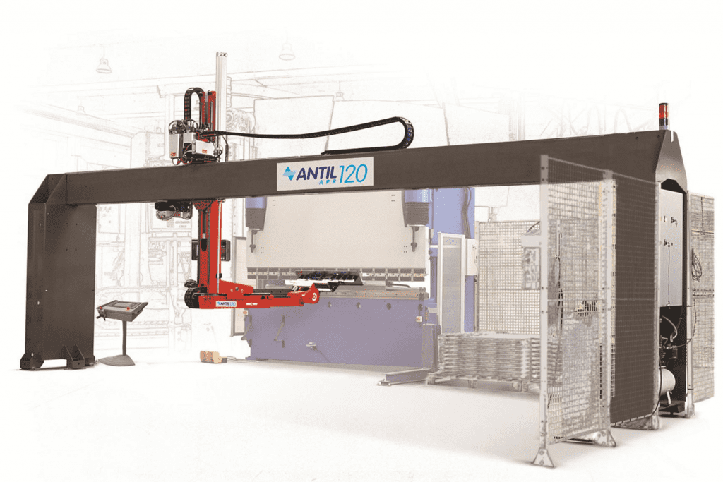 Side view Antil-Robotic-Arm-free-standing-track-and-safety-barriers
