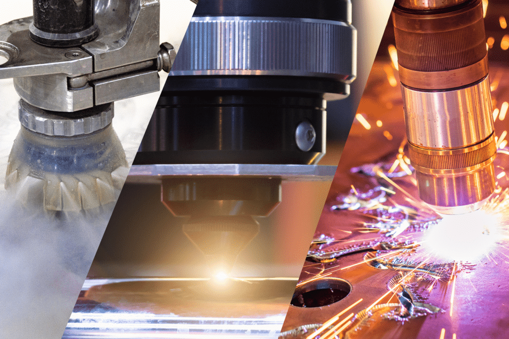 Split image depicting a waterjet, laser and plasma cutting head