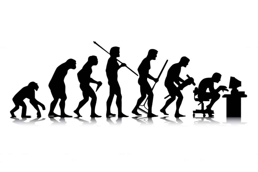 Image of man's cycle of evolution from ape to computer