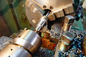Close up image of metalworking lathe