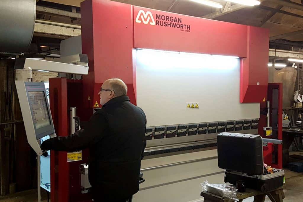 Nigel installing and commissioning a press brake