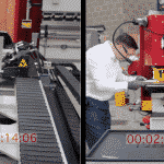 Split screen of the HSP CNC Punch vs the traditional steelworker