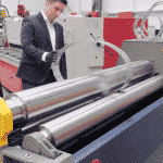 Bruce Bushnell demonstrating the The advantages of a CNC MG Bending Rolls