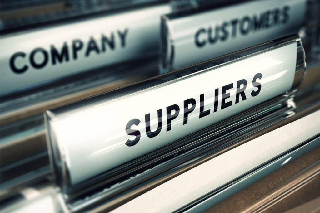 Image of a filing cabinet highlight suppliers and customers