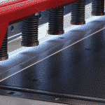 View from the front of a guillotine looking at the top shear and shadow line