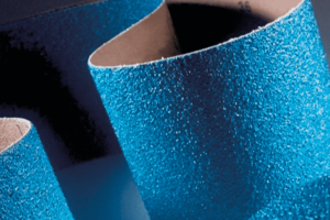 Close up image of blue abrasive belt