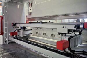 Rear view of press brake focused on the backgauge