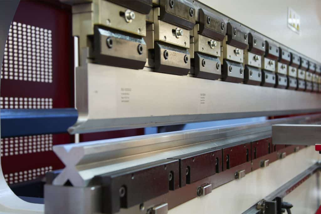 Side view of the tooling on a Morgan Rushworth Press Brake