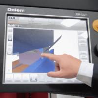 Hand operating the 3d Delem 69T Press Brake Controller