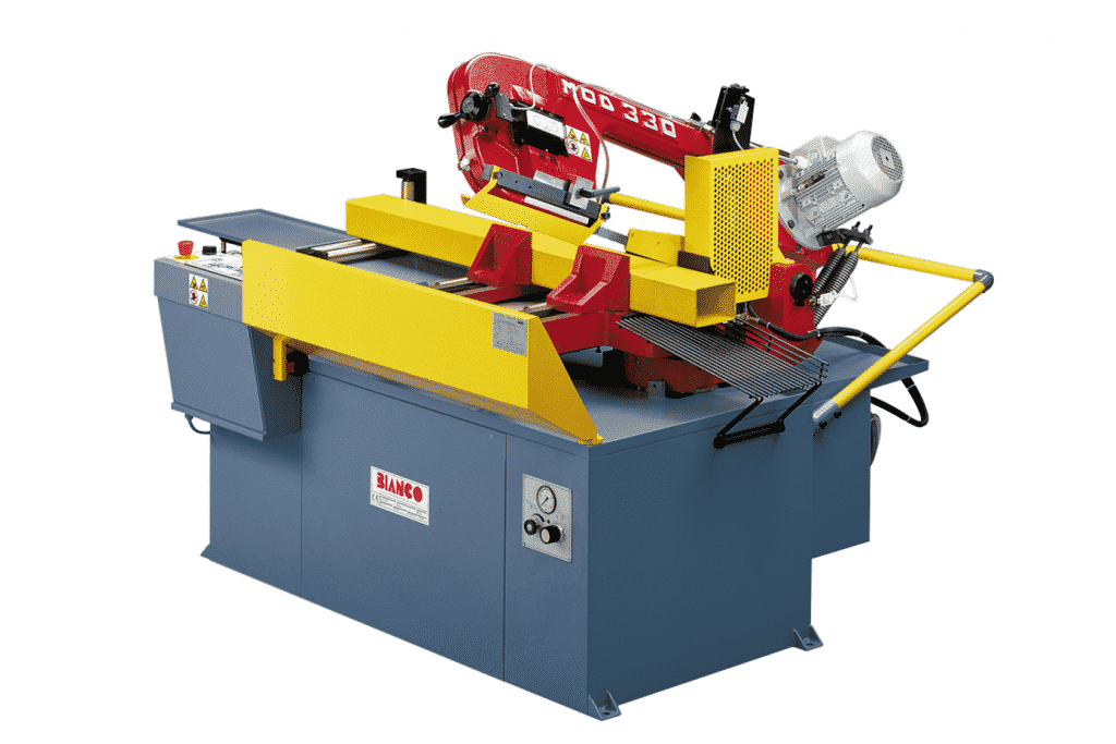 Front view of the Bianco-330AE-Fully-Automatic-Single-Mitre-Bandsaw