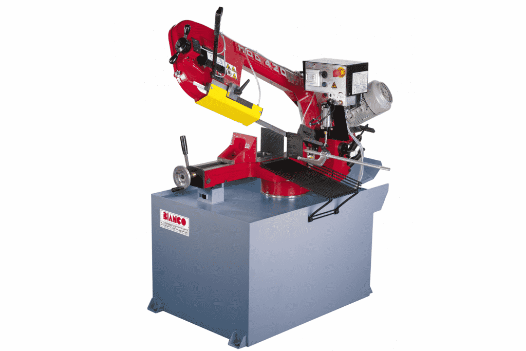 Front view of the Bianco-420-MS-Pull-Down-Auto-Downfeed-Single-Mitre-Bandsaw