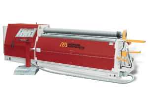 Front view of the Morgan Rushworth DMPB-4 Hydraulic Bending Roll featured with the standard controller