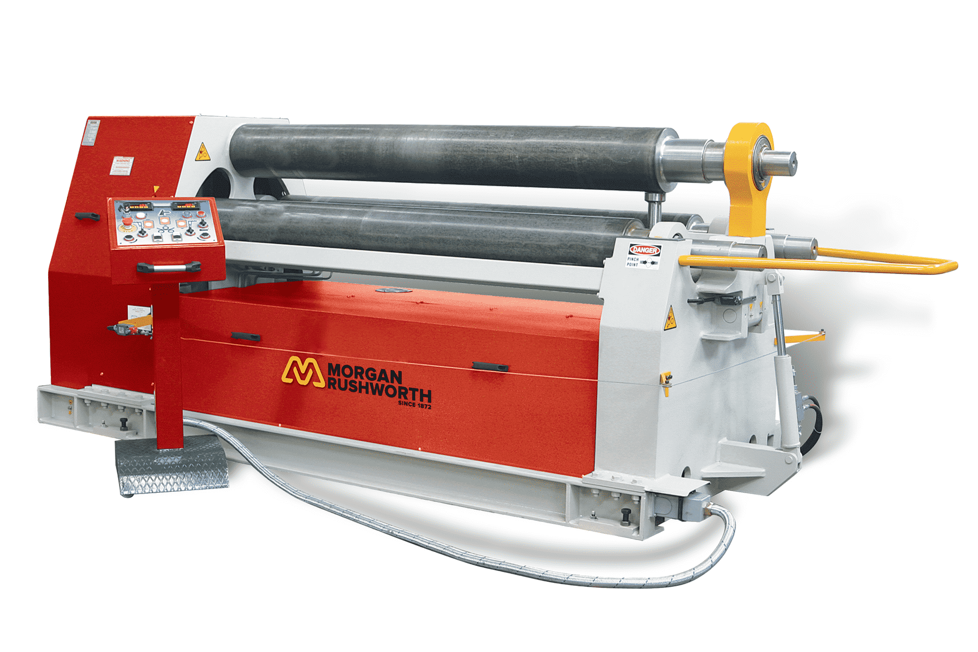 Front view of the Morgan Rushworth DPBM-3 Hydraulic Bending Roll featured with the standard controller