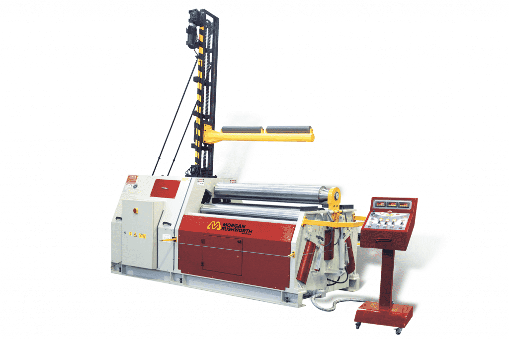 Front view of the Morgan Rushworth DPBM-4 Powered Bending Roll featured with the standard controller and optional central support system
