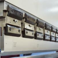 Close up detail of the top beam on a Morgan Rushworth Press Brake