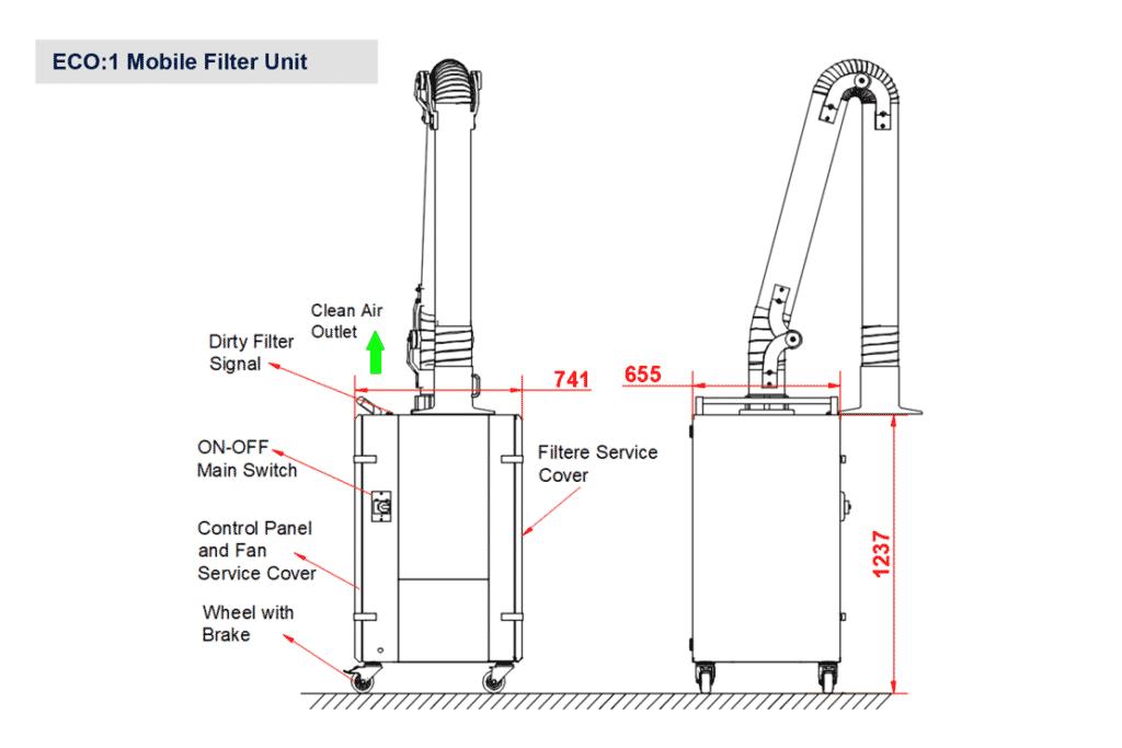 Line Diagram - Vanterm-ECO-Series-Mobile-Welding-Fume-Filter-Unit_Line