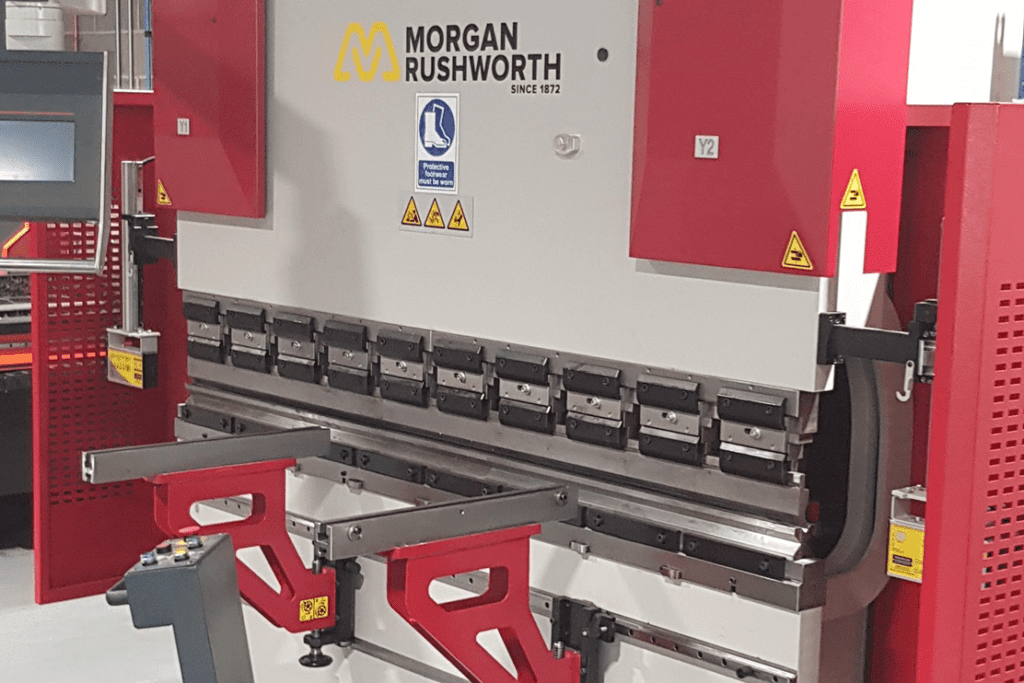Image of the Morgan Rushworth Press Brake purchased by Colchester Institute on their premises