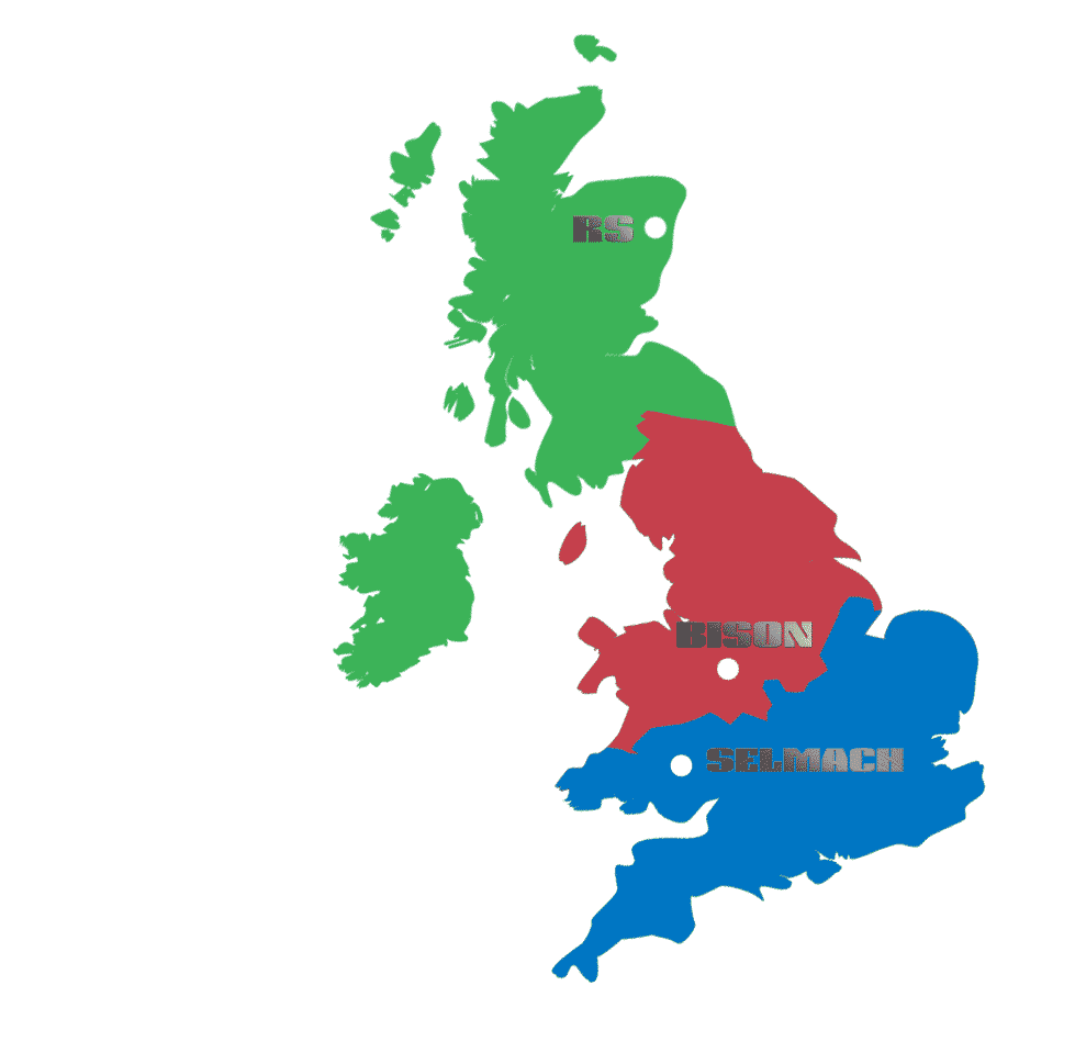 UK map showing where different branches are based